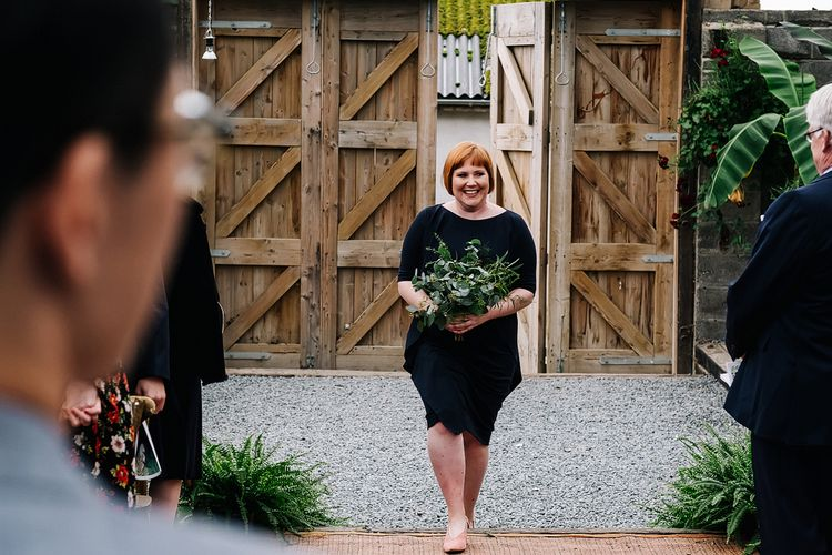 Cos Bridesmaid Dresses. Contemporary Meets Rustic Humanist Wedding at Boutique Venue Anran, Devon. Bespoke Bridal Gown. Photography by Kristian Leven