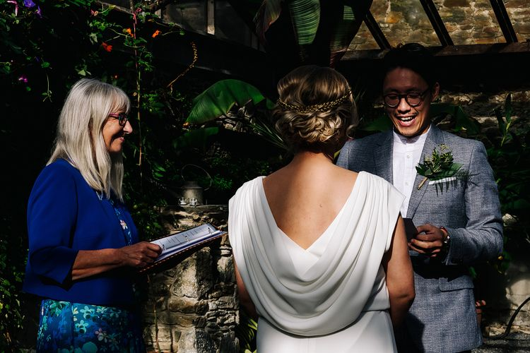 The Ceremony.  Contemporary Meets Rustic Humanist Wedding at Boutique Venue Anran, Devon. Bespoke Bridal Gown. Photography by Kristian Leven