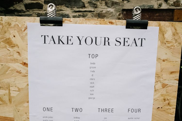On the Day Stationery, Table Plan. Contemporary Meets Rustic Humanist Wedding at Boutique Venue Anran, Devon. Bespoke Bridal Gown. Photography by Kristian Leven