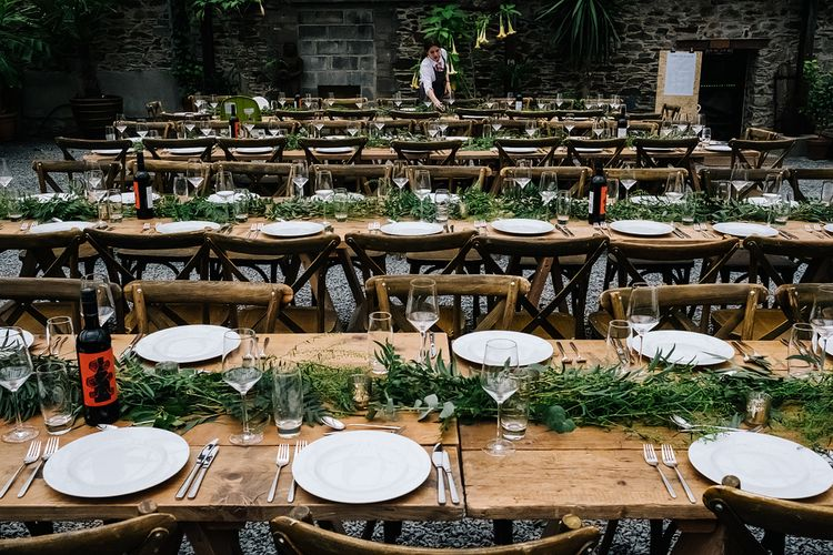 Table Setting. Contemporary Meets Rustic Humanist Wedding at Boutique Venue Anran, Devon. Bespoke Bridal Gown. Photography by Kristian Leven