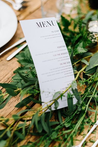 On the Day Stationery. Contemporary Meets Rustic Humanist Wedding at Boutique Venue Anran, Devon. Bespoke Bridal Gown. Photography by Kristian Leven