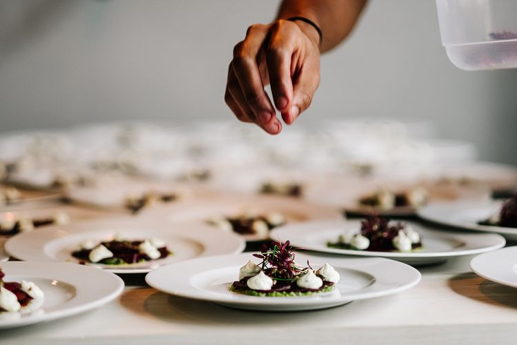 Catering. Contemporary Meets Rustic Humanist Wedding at Boutique Venue Anran, Devon. Bespoke Bridal Gown. Photography by Kristian Leven