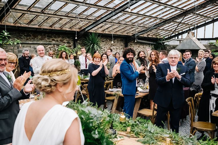 Reception. Contemporary Meets Rustic Humanist Wedding at Boutique Venue Anran, Devon. Bespoke Bridal Gown. Photography by Kristian Leven