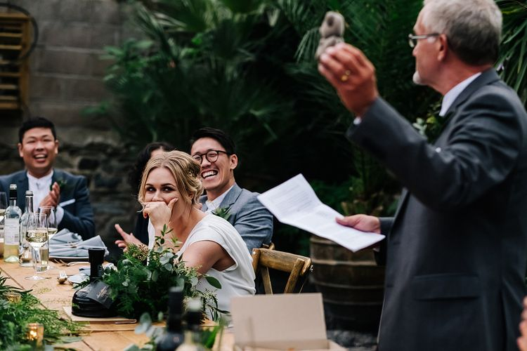 Reception. Speeches. Contemporary Meets Rustic Humanist Wedding at Boutique Venue Anran, Devon. Bespoke Bridal Gown. Photography by Kristian Leven