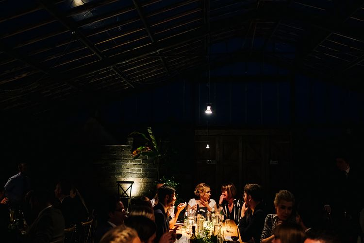 Reception. Dinner. Contemporary Meets Rustic Humanist Wedding at Boutique Venue Anran, Devon. Bespoke Bridal Gown. Photography by Kristian Leven