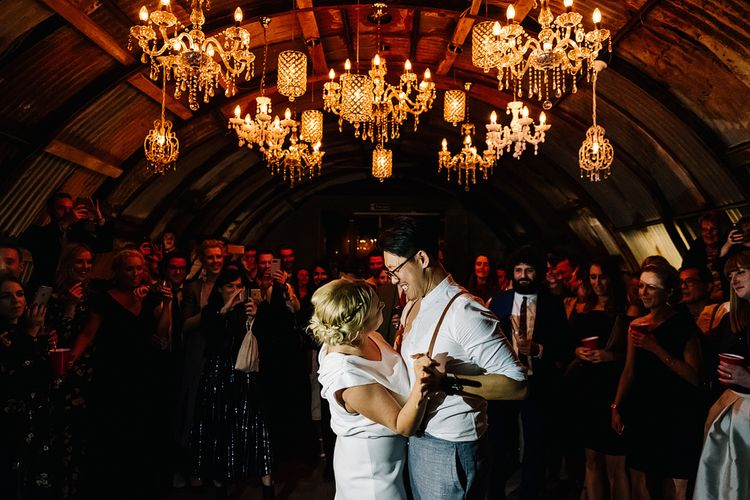 First Dance. Contemporary Meets Rustic Humanist Wedding at Boutique Venue Anran, Devon. Bespoke Bridal Gown. Photography by Kristian Leven