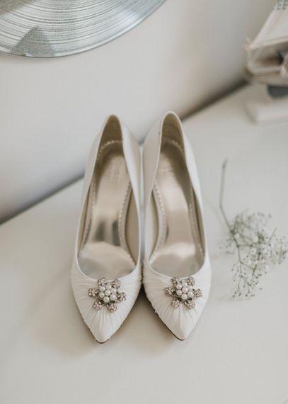 Monsoon Satin Wedding Shoes with Jewel Brooch