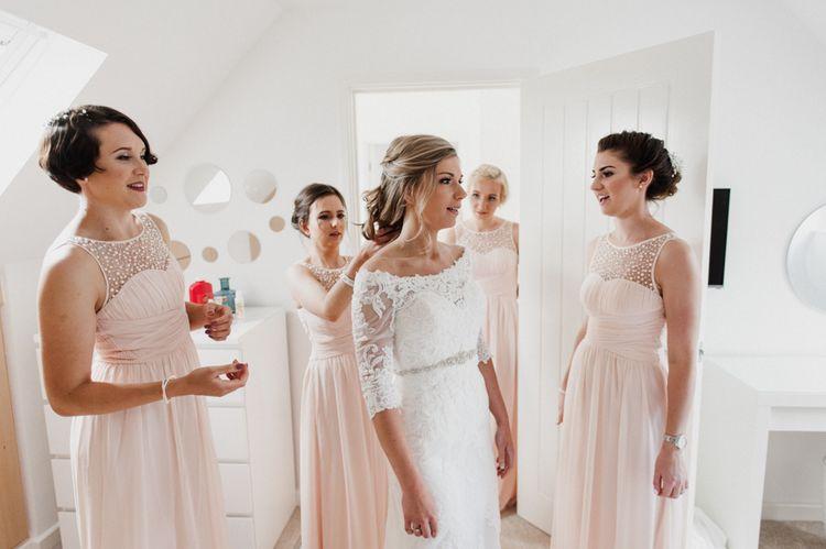Lace Mori Lee Madeline Gardner Wedding Dress and Bridesmaids in Pink Little Mistress Dresses