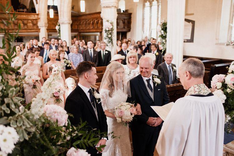 Church Wedding Ceremony Bridal Entrance with Bride in Mori Lee Wedding Dress and Veil