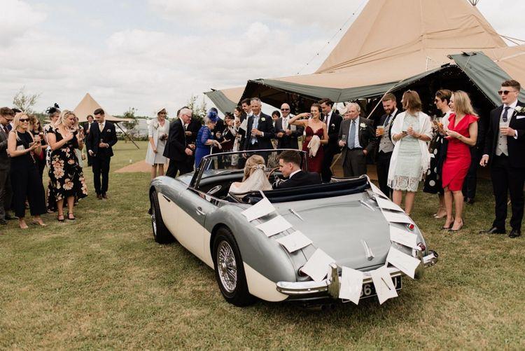 Blue Vintage Austin Healey 3000 Wedding Car