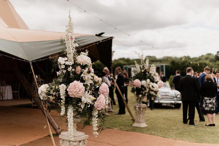 White and Pink Wedding Flower Arrangement