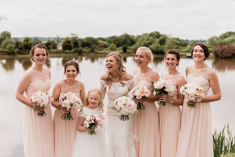 Bridal Party Portrait with Bridesmaids in Pink Little Mistress Dresses
