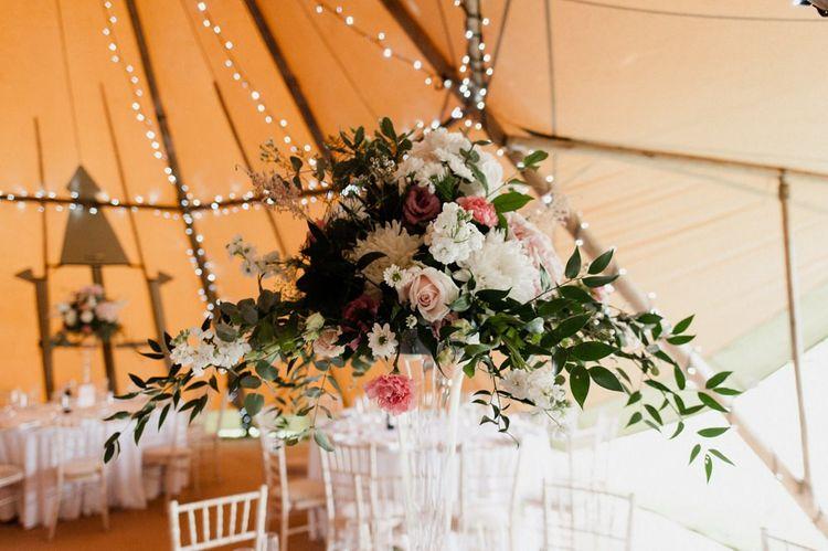 Pink and White Wedding Flower Centrepiece