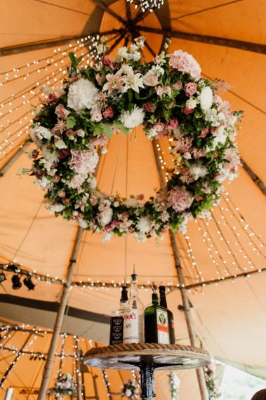 Pink, White and Green Floral Chandelier