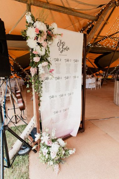 Giant Fabric Table Plan on Wooden Frame