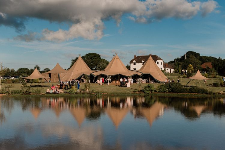 At Home Tipi Wedding Reception by a Lake
