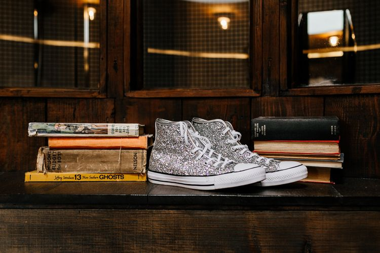 Jewel Encrusted Converse Bridal Trainers | Quirky Pub Wedding at The Bell in Ticehurst East Sussex | Epic Love Story Photography