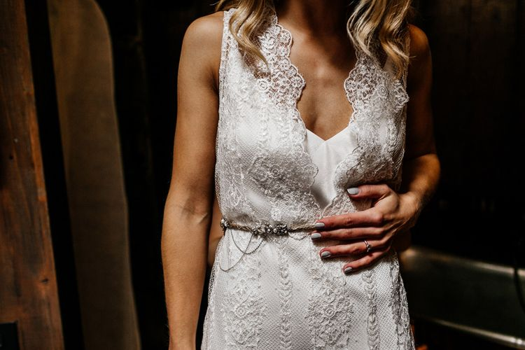 Bride in Charlie Brear Delancey Gown & Belt | Quirky Pub Wedding at The Bell in Ticehurst East Sussex | Epic Love Story Photography