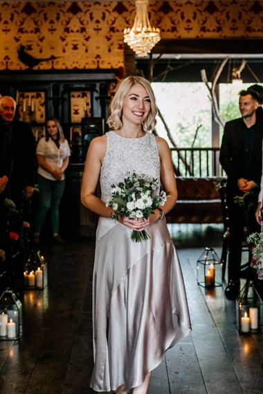 Wedding Ceremony | Bridesmaids in Silver Skirt & Sequin Top Separates | Quirky Pub Wedding at The Bell in Ticehurst East Sussex | Epic Love Story Photography