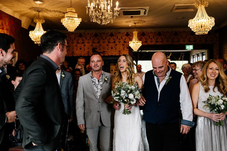 Wedding Ceremony | Bridal Entrance  in Charlie Brear Delancey Gown & Belt | Groom in Hugo Boss Suit | Quirky Pub Wedding at The Bell in Ticehurst East Sussex | Epic Love Story Photography