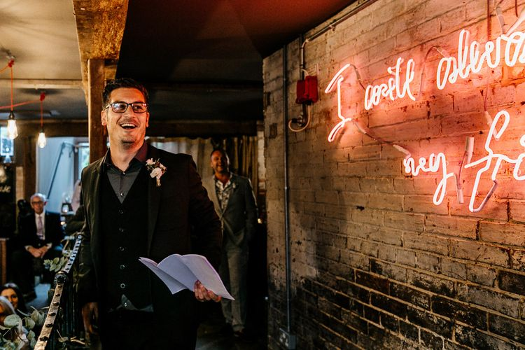 Neon Light Sign & Edison Bulbs | Groom Speech | Hugo Boss Suit | Quirky Pub Wedding at The Bell in Ticehurst East Sussex | Epic Love Story Photography
