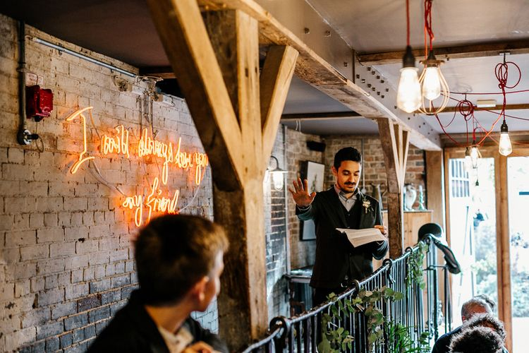Neon Light & Edison Bulbs | Best Man Speech | Quirky Pub Wedding at The Bell in Ticehurst East Sussex | Epic Love Story Photography