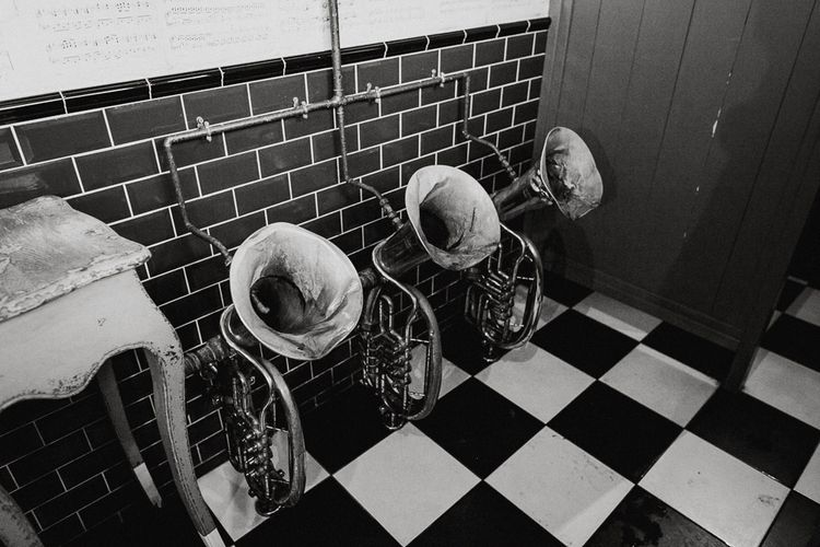 Tuba Urinals | Quirky Pub Wedding at The Bell in Ticehurst East Sussex | Epic Love Story Photography