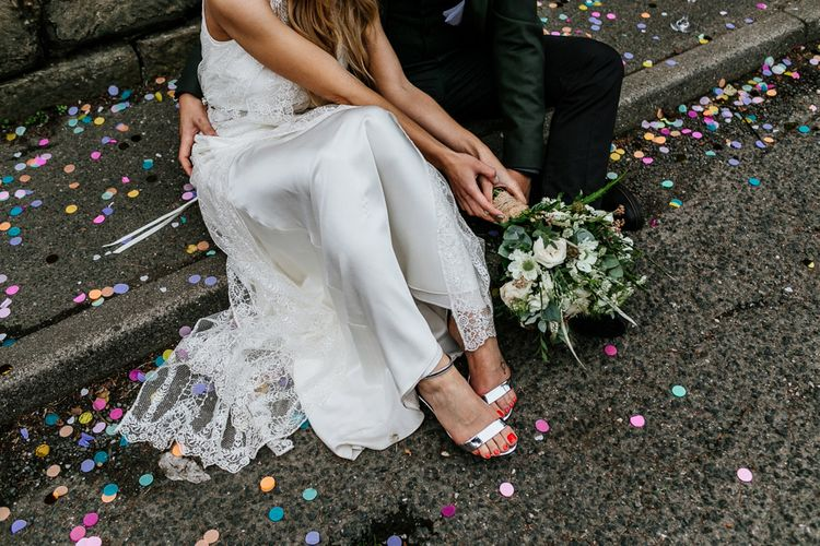 Silver Strappy New Look Bridal Shoes | Charlie Brear Delancey Gown & Belt | Groom in Hugo Boss Suit | Quirky Pub Wedding at The Bell in Ticehurst East Sussex | Epic Love Story Photography