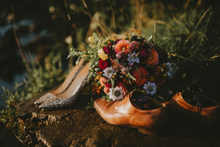 Wedding bouquet with Jimmy Choo shoes
