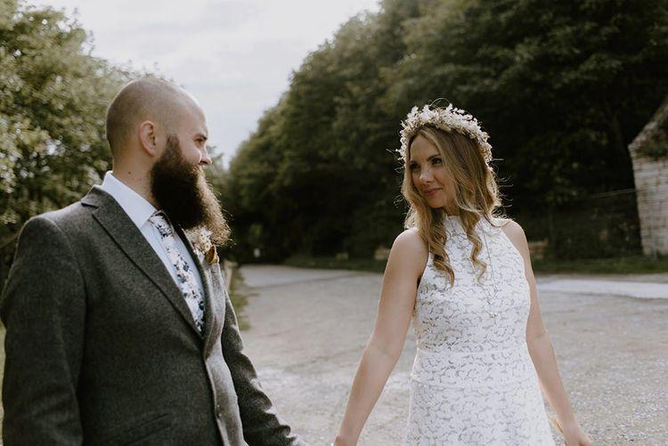 Bride wears flower crown for intimate celebration