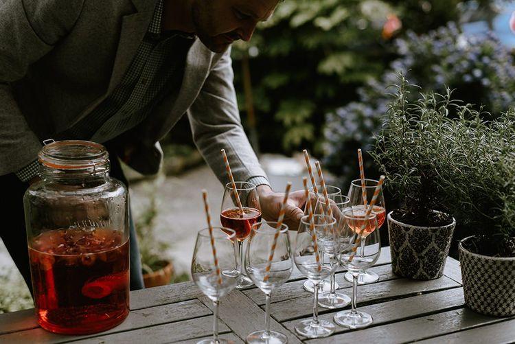 Wedding drinks at seaside wedding