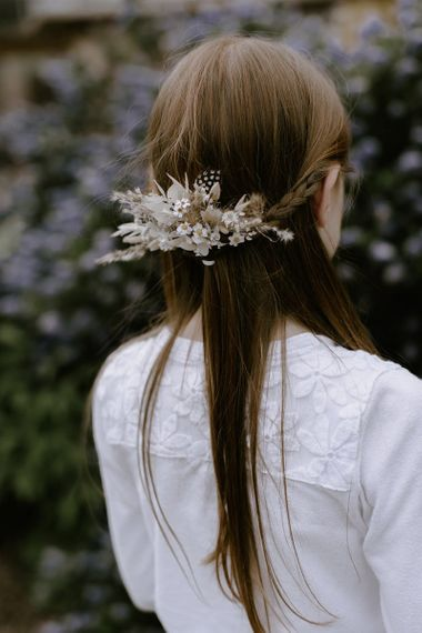 Dried wedding flowers hairpiece for bridesmaid