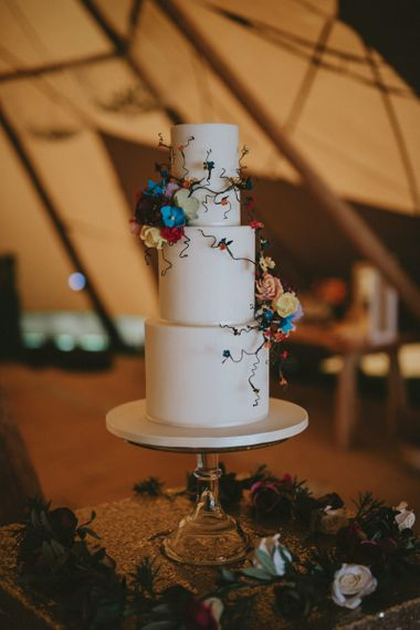 Wedding cake with ornate flowers