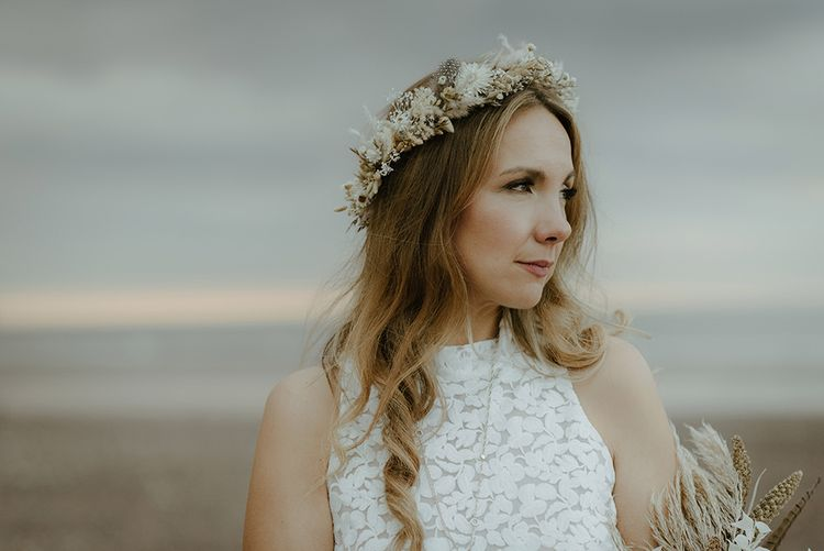 Flower crown for bride at intimate wedding