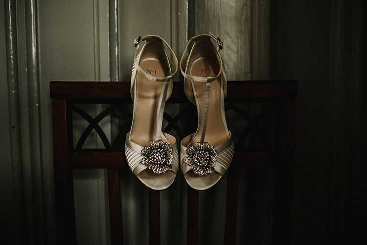 T-Bar Wedding Shoes | Hourglass Essense of Australia Wedding Dress for a Sophisticated Wedding at Combermere Abbey, Cheshire | Carla Blain Photography