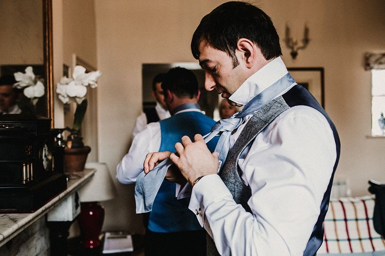 Wedding Morning Grooms Preparations | Hourglass Essense of Australia Wedding Dress for a Sophisticated Wedding at Combermere Abbey, Cheshire | Carla Blain Photography
