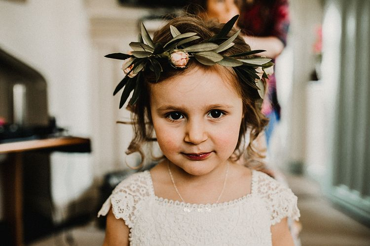 Flower Girl with Flower Crown | Hourglass Essense of Australia Wedding Dress for a Sophisticated Wedding at Combermere Abbey, Cheshire | Carla Blain Photography
