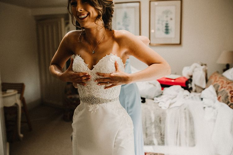 Wedding Morning Bridal Preparations | Bride in Hourglass Essense of Australia Wedding Dress for a Sophisticated Wedding at Combermere Abbey, Cheshire | Carla Blain Photography