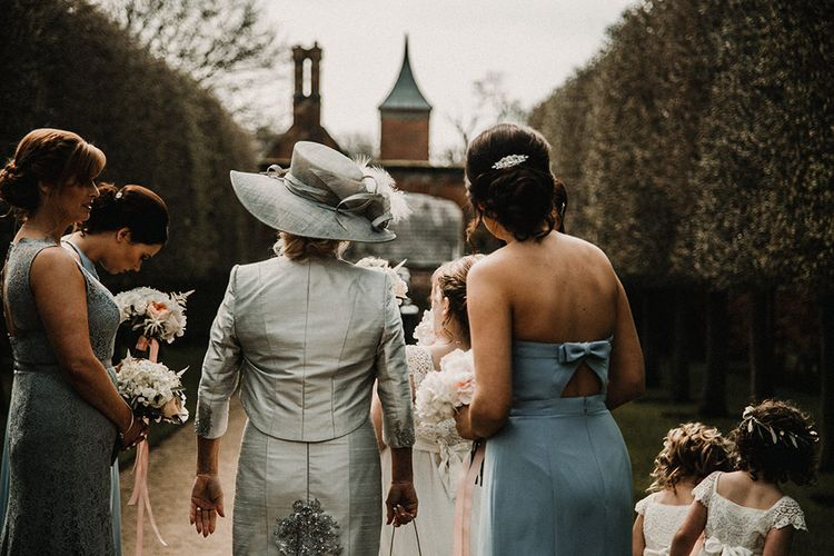 Mother of the Bride & Bridesmaids in Blue | Hourglass Essense of Australia Wedding Dress for a Sophisticated Wedding at Combermere Abbey, Cheshire | Carla Blain Photography