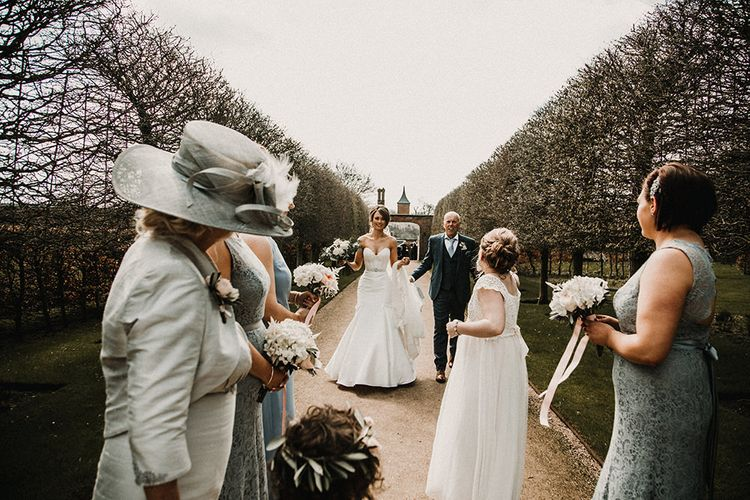 Bridal Entrance in Hourglass Essense of Australia Wedding Dress for a Sophisticated Wedding at Combermere Abbey, Cheshire | Carla Blain Photography