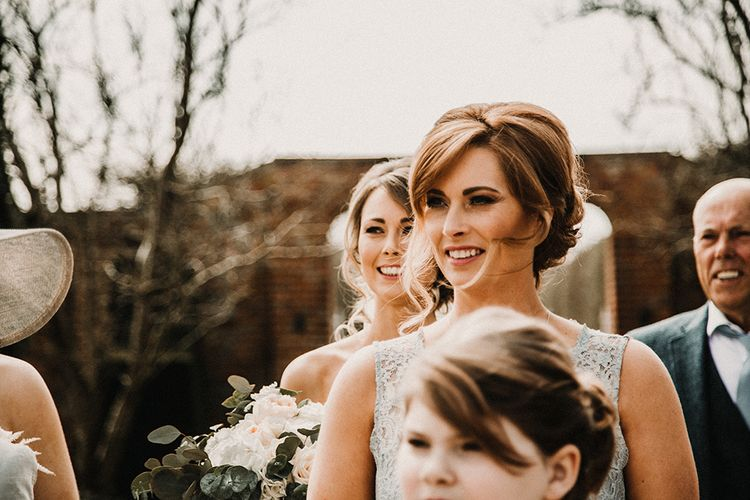 Bridesmaids Hair & Makeup |  Hourglass Essense of Australia Wedding Dress for a Sophisticated Wedding at Combermere Abbey, Cheshire | Carla Blain Photography