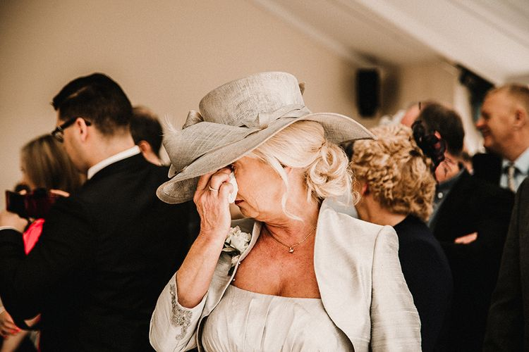 Wedding Ceremony | Emotional Mother of the Bride | Hourglass Essense of Australia Wedding Dress for a Sophisticated Wedding at Combermere Abbey, Cheshire | Carla Blain Photography
