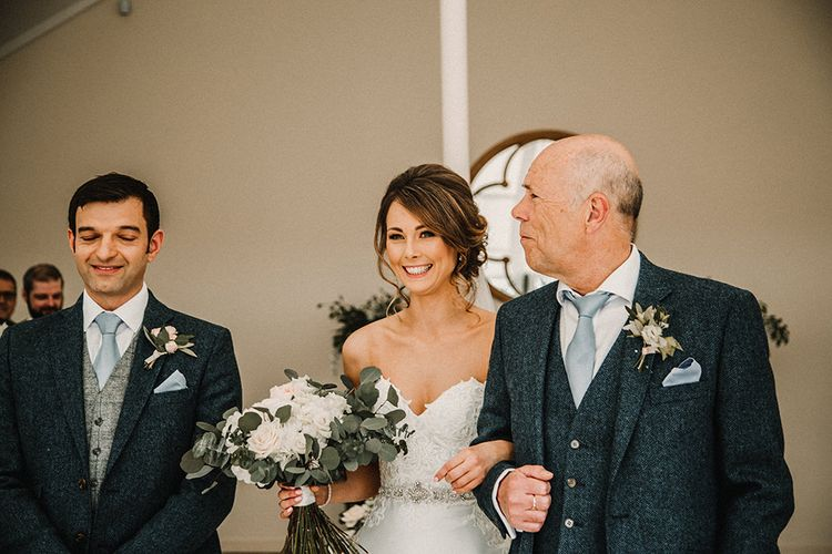 Wedding Ceremony | Bride in Hourglass Essense of Australia Wedding Dress for a Sophisticated Wedding at Combermere Abbey, Cheshire | Carla Blain Photography