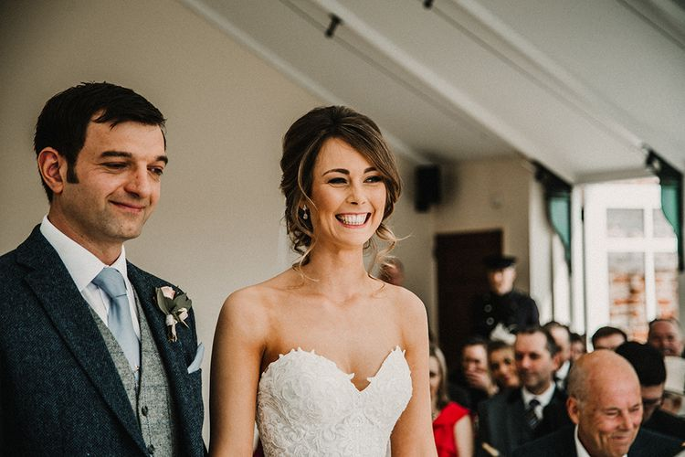 Wedding Ceremony | Bride in Hourglass Essense of Australia Wedding Dress | Groom in Tweed Suit |  Sophisticated Wedding at Combermere Abbey, Cheshire | Carla Blain Photography