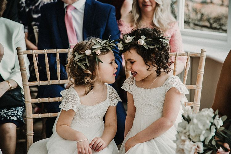 Flower Girls with Flower Crowns | Sophisticated Wedding at Combermere Abbey, Cheshire | Carla Blain Photography