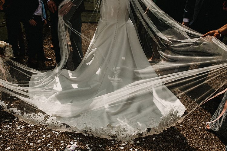 Bride in Hourglass Essense of Australia Gown with Veil | Sophisticated Wedding at Combermere Abbey, Cheshire | Carla Blain Photography