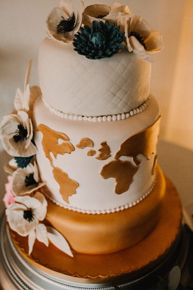 Wedding Cake with World Map Tier | Sophisticated Wedding at Combermere Abbey, Cheshire | Carla Blain Photography