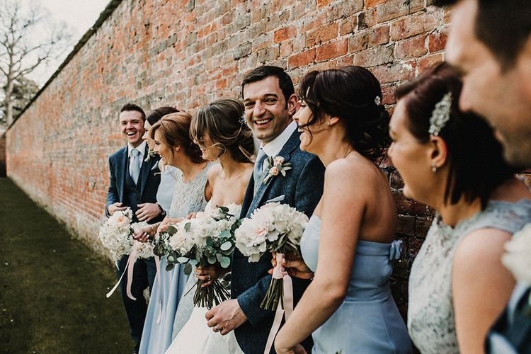 Wedding Party | Bride in Hourglass Essense of Australia Gown | Bridesmaids in Blue Dresses | Groom in Tweed Suit | Sophisticated Wedding at Combermere Abbey, Cheshire | Carla Blain Photography