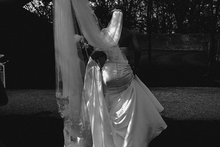 Bride in Hourglass Essense of Australia Gown & Wedding Veil | Sophisticated Wedding at Combermere Abbey, Cheshire | Carla Blain Photography