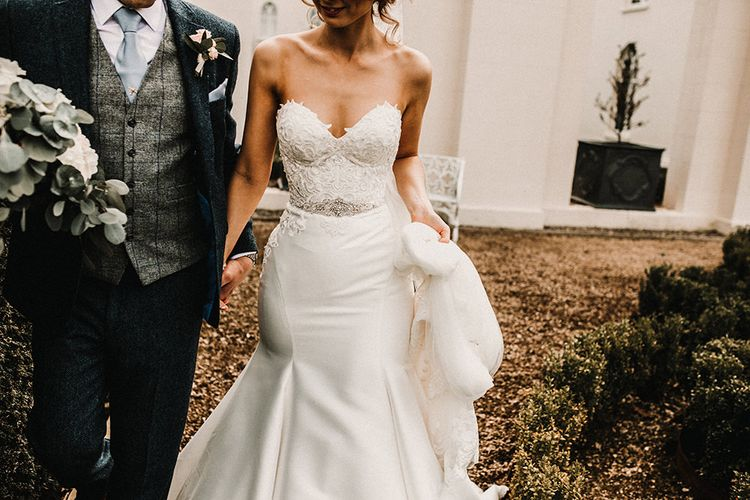 Bride in Hourglass Essense of Australia Gown | Groom in Tweed Suit | Sophisticated Wedding at Combermere Abbey, Cheshire | Carla Blain Photography